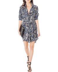 Shirtdress - Leopard Print Roll Sleeve Silk - Lyst