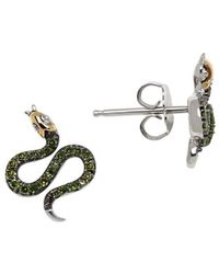 Lord & Taylor - Green Diamond, Sterling Silver And 14k Yellow Gold Snake Stud Earrings - Lyst