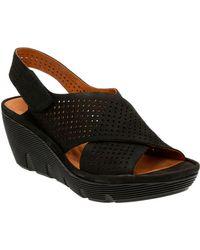 Clarks Clarene Award Slingback Platform Wedge Sandals - Black