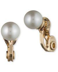 Anne Klein - 8mm Faux Pearl Clip-on Earrings - Lyst