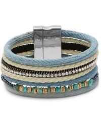 Lord & Taylor - Multi-row Denim And Stone Accented Bracelet - Lyst