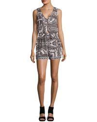 Lucky Brand - V-neck Sleeveless Printed Jumpsuit - Lyst