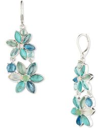 Anne Klein - Floral Double-drop Earrings - Lyst