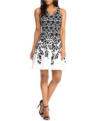 Maggy London - Leaf Printed Sleeveless Dress - Lyst