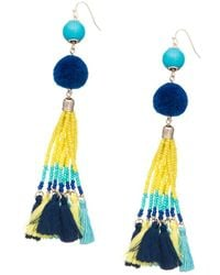 Lord & Taylor - Pompom And Fringe Accented Drop Earrings - Lyst