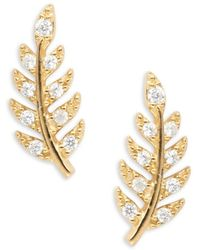 Tai - Crystal Accented Leaf Stud Earrings - Lyst