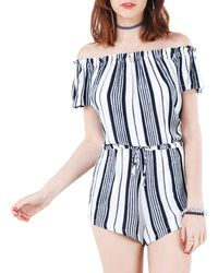 California MoonRise - Striped Off-the-shoulder Jumpsuit - Lyst