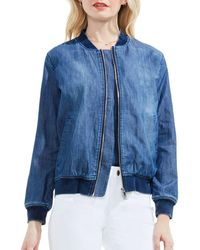 Two By Vince Camuto - Washed Denim Bomber Jacket - Lyst