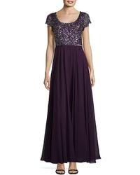 J Kara - Sequined Chiffon Gown - Lyst