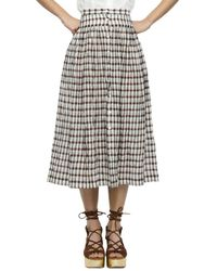 Nikki Chasin - Button-front Plaid Skirt - Lyst