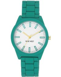 Nine West White Dial Analog Teal Rubber Bracelet Watch - Green