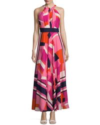 Eliza J - Scarf Printed Maxi Dress - Lyst