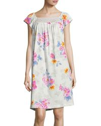 Carole Hochman - Floral Lace-trimmed Nightgown - Lyst