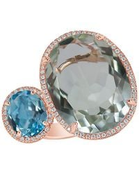 Marco Moore - Green Amethyst, Topaz, Diamond And 14k Rose Gold Ring - Lyst