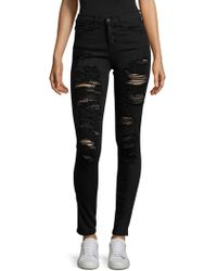 Flying Monkey - Button Front Skinny Jeans - Lyst