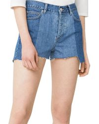 Mango - Frayed Five-pocket Denim Shorts - Lyst