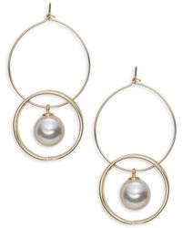 Lord & Taylor - Faux Pearl-accented Linked-hoop Drop Earrings - Lyst