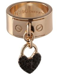 BCBGeneration - Keys To My Heart Crystal Heart Charm Ring - Lyst