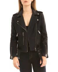 BAGATELLE.NYC - Belted Leather Biker Jacket - Lyst