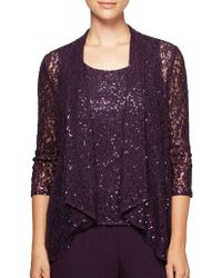 Alex Evenings - Plus Two-piece High Low Cascade Cardigan And Camisole - Lyst