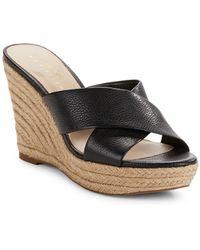 9fdf65935fa Sadie Leather Crisscross Espadrille Wedge Sandals - Black