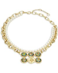 Gerard Yosca Headlight Stone Simulated Pearl Floral Nested Necklace - Metallic