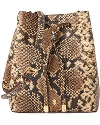 Lauren by Ralph Lauren Small Snakeskin Print Leather Bucket Bag - Multicolour