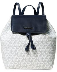 38b2e34f75cc MICHAEL Michael Kors Junie Medium Leather Flap Backpack in Black - Lyst
