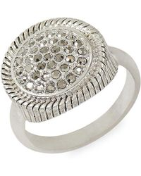 Lucky Brand - Silver-tone Pavé Textured Ring - Lyst