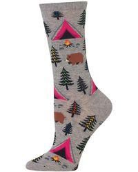 Hot Sox Bear Tent Crew Socks - Gray