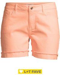 Kensie Cuffed Denim Shorts - Pink