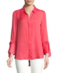 Isaac Mizrahi New York - Bow Bell-sleeve Button-down - Lyst