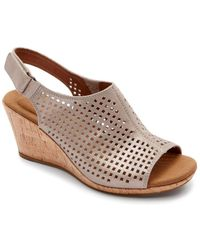 Rockport - Briah Slingback Leather Wedge Sandals - Lyst