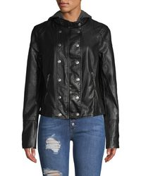 Free People New Dawn Vegan Leather Jacket - Black