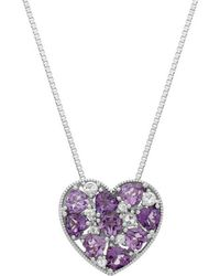 Lord + Taylor Sterling Silver Multi Amethyst And White Topaz Heart Pendant Necklace - Purple