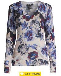 Lord + Taylor V-neck Floral Cashmere Jumper - Blue