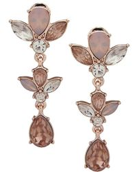 Ak Anne Klein - Rose Goldtone And Glass Stone Linear Earrings - Lyst