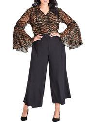 City Chic - Plus Mini Tigress Bell-sleeve Top - Lyst