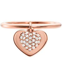 Michael Kors Kors Love 14k Rose-goldplated & Crystal Heart Charm Band Ring - Multicolour