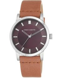 Vince Camuto Stainless Steel Tan Leather Strap Watch - Brown