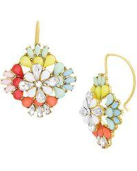 Steve Madden Geometric Floral Drop Earrings - Multicolour