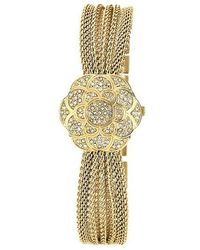 Anne Klein Ladies Gold Flower Covered Dial Watch - Yellow