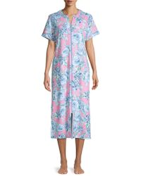 Miss Elaine Floral Zip-front Robe - Blue