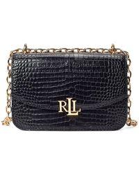 Lauren by Ralph Lauren Embossed Leather Crossbody Bag - Black