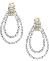 Effy - Duo 14k White And Yellow Gold Dangle & Drop Earrings - Lyst