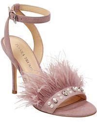 Ivanka Trump - Kasie Feather Suede Sandals - Lyst