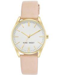 Nine West - Quartz Movement Leatherette Strap Watch- Nw-1994wtpk - Lyst