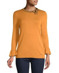 Ivanka Trump - Neck Tipped Tie Sweater - Lyst