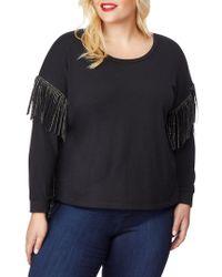 REBEL WILSON X ANGELS Plus Chain Fringe-trimmed Sweatshirt - Black