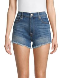 7 For All Mankind Faded Cut-off Shorts - Blue